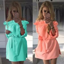 New Fashion Women Ruffles Slash Neck Off Shoulder Summer Casual Mini Dress EA77