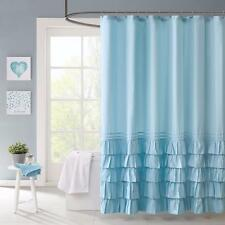 Charming Country Chic Blue Tiered Layered Ruffled Textured Fabric Shower Curtain