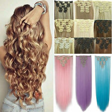 Long Real Thick 7/8Pcs Full Head Clip in Natural Hair Extensions Straight Curly