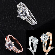 1Pcs Plated Silver Gold Plated Rings Rhinestone Wedding Women Jewelry Size 6~9