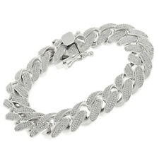 925 Sterling Silver 15.5mm Miami Cuban Rhodium CZ Iced Out Bling Bracelet Chain