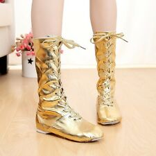 Women GoGo Boots Shoes Cool 60s 70s Eyelet Party DS Dance UK Flats Shiny Fashion