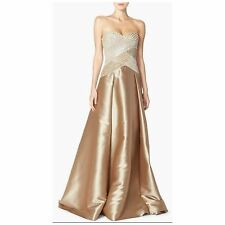 PAMELLA ROLAND Strapless Faux Pearl Embellished Mikado Size 4 Ball Gown $500