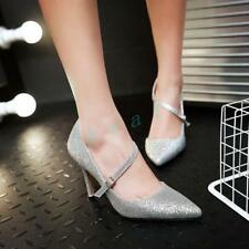 hot Womens Wedding Shiny Sequin High Heels Pumps Party Stiletto Pointy Toe Shoes