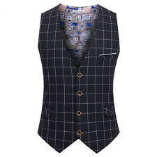 Mens Fit Slim Vintage Leisure Herringbone Check Waistcoat Vests Coat Tops Formal