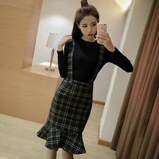 Ladies Braces Suspender Skirt Tartan Fishtail Midi Bodycon Pencil Dress Vintage