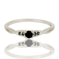 Natural Black Onyx London Blue Topaz 925 Sterling Silver Eternity Ring Jewelry