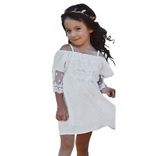 Kids Baby Girls Off-shoulder Dress Wedding Pageant Party Beach Lace Dress 2-7Y
