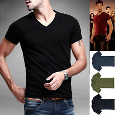 Slim Fitted Mens T Shirt Basic Tee Athletic Top Cotton High Stretch V Neck Solid