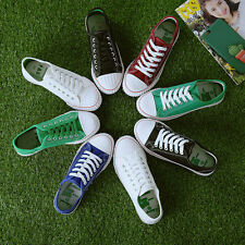 Classic Womens Canvas Lace Up Casual Sneakers Traines Flat Ladies Plimsoll Shoes