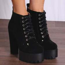 LADIES BLACK LACE UP CHUNKY BLOCK HIGH HEEL PLATFORM ANKLE BOOTS SHOES SIZE 3-8