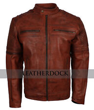 Mens Fitted Rust Brown Vintage Real Leather Biker Casual Smart Motorcycle Jacket