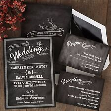 Set of 50 Wedding Invitations with RSVP & Reception Cards Margo 2-sided AV2339