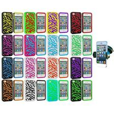 For iPhone 4 4G 4S Hybrid Zebra Hard/Soft 2-Piece Case Cover+Windshield Mount