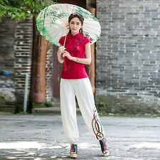 Women Bloomers Pants Cotton Linen Elastic Waist Loose Casual Trousers Ethnic Red