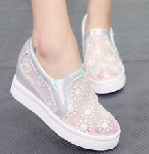 Fashion Womens Sneakers Lace Platform Rhinestones Sneakers Hollow Wedge Shoes