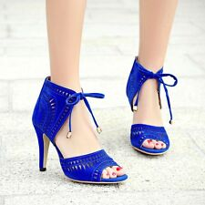 Women Hollow Out Stiletto High Heels Pumps Suede Open Toe Lace Up Shoes Size