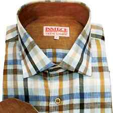 NWT Inserch Mens Long Sleeve 100% Linen Plaid Shirt W/ Contrast Trim Size S-6X