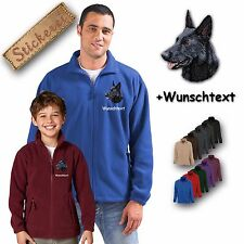 Cosy Fleece Jacket Embroidery Dog German Shepherd + Desired Text