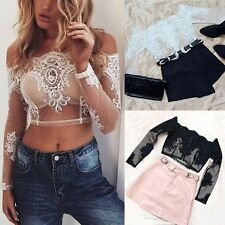 Sexy Women See Through Blouse T-shirts Off-shoulder Lace Crop Tops Tank Vest Top