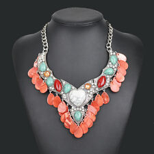 2017 New Brand Fashion Turquoise Heart Statement Women Bib Choker Necklace