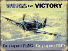WINGS FOR VICTORY RAF SPITFIRE BATTLE OF BRITAIN METAL PLAQUE SIGN NOSTALGIC 351