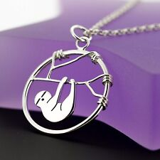 Handmade 925 Sterling Silver Sloth Necklace - Hanging Sloth Jewellery