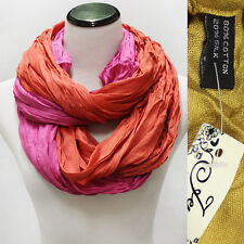 Women Basic Long Crinkle Solid Silk Cotton circle Infinity Scarves Scarf shawl