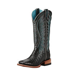 "Ariat 10018562 Vaquera Caiman Gator Belly Skin 13"" Wide Square Toe Cowgirl Boots"
