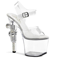 Pleaser REVOLVER-708 Ladies Clear Stiletto Heel Platform Slide Stripper Shoes