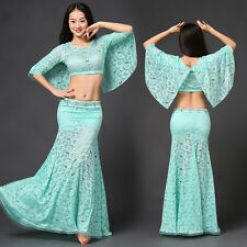 New 2017 Sexy Lace Belly Dance Costumes outsite sets Club 2Pics top &long skirt