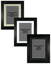 Picture Frame Brushed Black Handmade 40mm With 3 Mount Options 18no Frame Sizes
