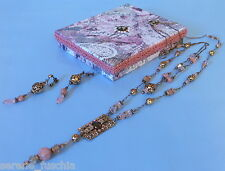 Victorian Lariat Necklace Earring Set Style Roses Pink Antique Brass Crystal NEW