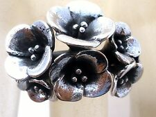 Sterling Silver Flower Ring Dimensional New Floral Design Sizes 6 7 8 Fine 925