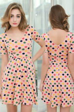Sexy Women Summer Polka Dot Mini Dress Cotton Evening Party Pinup Vintage Dress