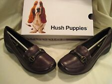 Women's Dark Brown size 11M Hush Puppies Leather Slip-On Casual Shoes