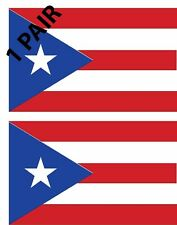 1 Pair (2) Puerto Rico Rican Flags  Decal Sticker