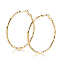 Gorgeous Womens Basketball Wives Big Smooth Round Fashion Silver Hoop Earrings