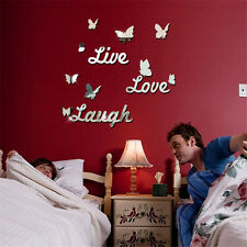 New Butterfly Mirror Effect Wall Sticker Acrylic Room Decor Removable Vinyl Art