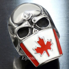 Canada Flag Mask Gothic Skull 316L Stainless Steel Men's Ring Size 7-15
