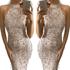 Elegant Sequin Tassel Bodycon Dress Womens Evening Party Mesh Long Maxi Dresses