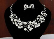 Necklace Gold Jewelry Earrings Set Women Bridal Pearl Crystal Silver Plated Lady