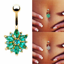 Surgical Steel Rhinestone Body Belly Button Titanium Navel Ring Bar Piercing