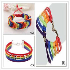 Braid Rainbow Pride Valentine's Gifts Love Lesbian Bracelet LGBT Flag Charm Gay