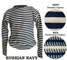 RUSSIAN TELNYASHKA 100% COTTON MILITARY MARINE NAVAL BLACK STRIPED T-SHIRT