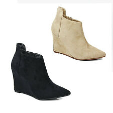 WOMENS LADIES CASUAL HIGH SLIM WEDGE HEEL POINTED TOE ANKLE BOOTS SHOES SIZE 3-8