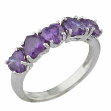 5 Hearts Alexandrite Heart Ring .925 Sterling Silver
