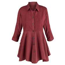 Tunic Top - Soutache Embroidered Wine Colored Button Down Blouse