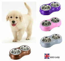 STAINLESS STEEL DOG BOWL Cat Puppy Pet Non Slip Food Water DOUBLE FEEDING DISH