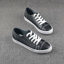 Free Shipping Fashion Womens Girls Leather Shoes Sneakers Lace-Up Casual Shoes